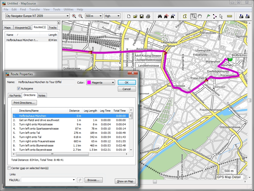 route in munich calculated by mapsource city navigator europe . tramsoft gmbh  garmin mapsource (english)