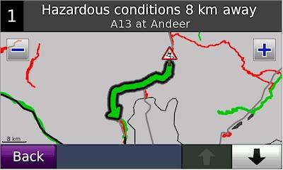 Garmin Nuvi 5000 Traffic Incident On Map
